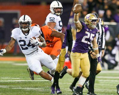 Penn State running back Miles Sanders and Washington linebacker Ben Burr-Kirven
