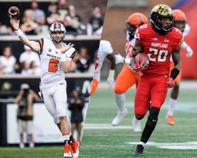 Oregon State quarterback Jake Luton and Maryland running back Javon Leake